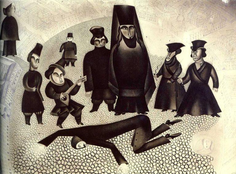 Исповедь на площади. Иллюстрация к роману Ф. М. Достоевского «Преступление и наказание». 1965
