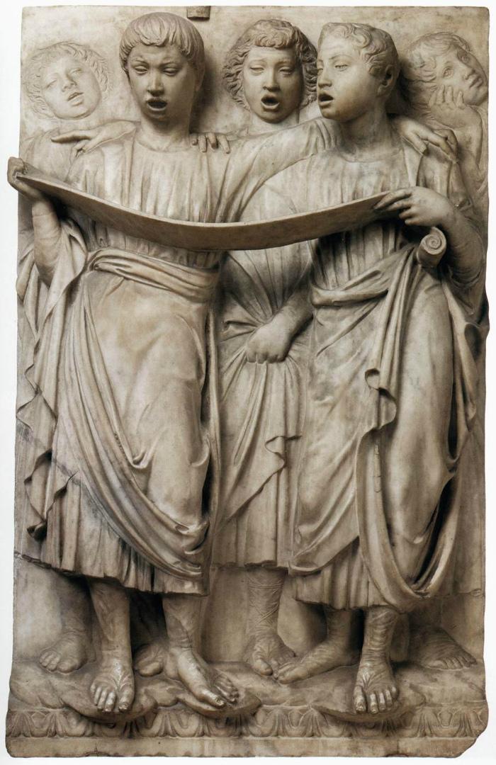 Кантория для собора Санта Мария дель Фьоре. Фрагмент. Певчие со свитком. 1431–1438