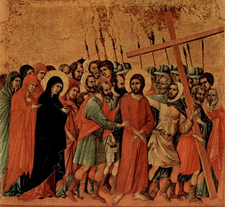 Маэста. Фрагмент. Несение креста. 1308–1311