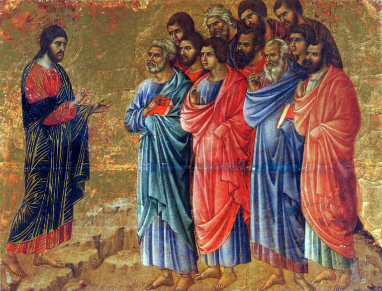 Маэста. Фрагмент. Явление Христа апостолам. 1308–1311