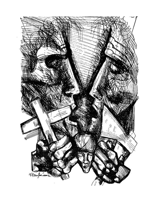 Между крестом и топором. Иллюстрация к роману Ф. М. Достоевского «Преступление и наказание». 1970