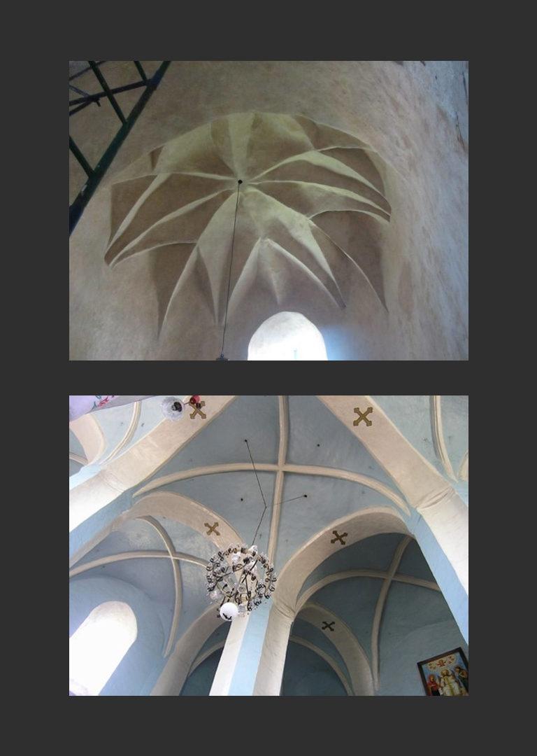 Михайловская церковь. Интерьер, готические своды. Кон. XV в. – нач. XVI в.