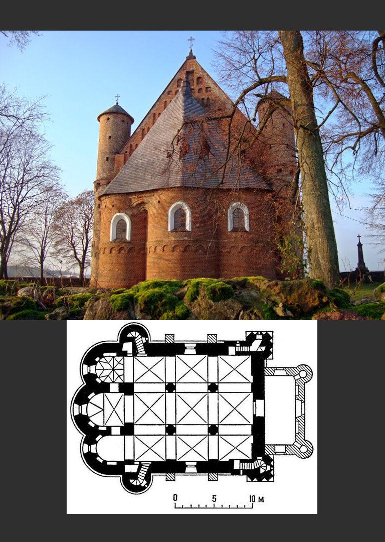 Михайловская церковь. Вид с востока и план. Кон. XV в. – нач. XVI в.