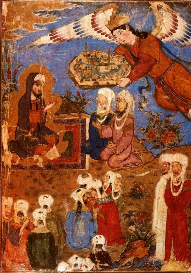 Миниатюра из книги «Вознесение пророка Мухаммада». Иран, XIV в.