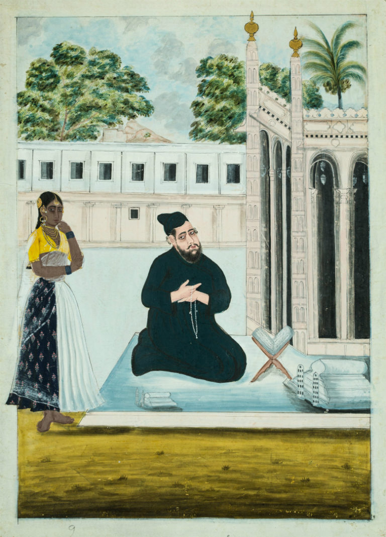 Мусульманин на молитве у мечети в Тричинополи. Индия, ок. 1820