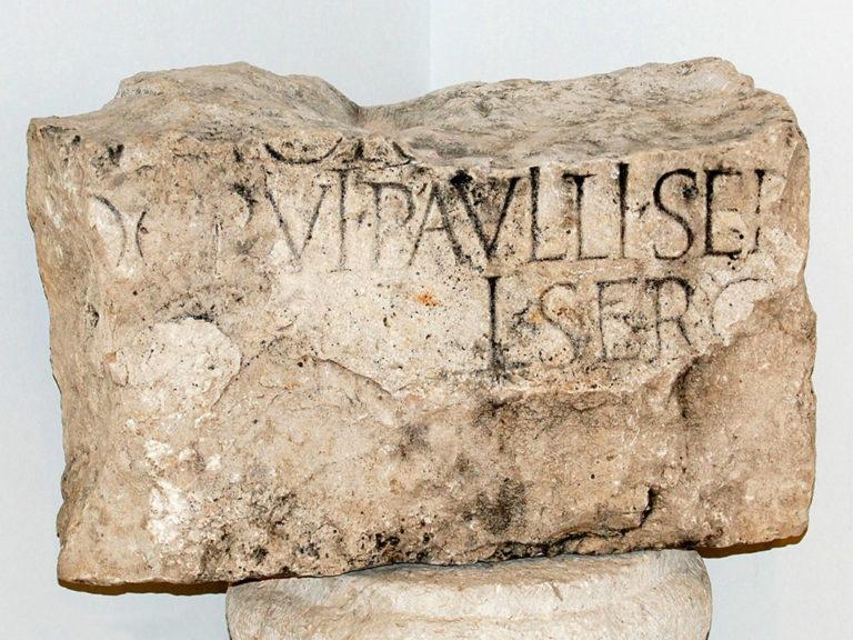 Надпись с именем Сергия Павла на камне, найденном в 1912 году в окрестностях Антиохии Писидийской