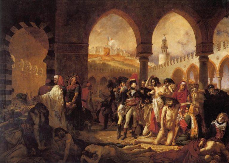 Наполеон посещает больных чумой в Яффе. 1804
