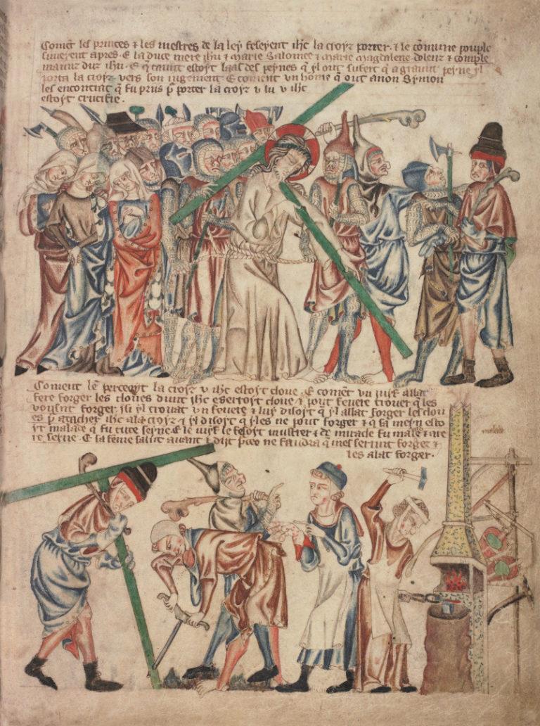Несение Христом Креста. Симон Киринеянин несёт крест на Голгофу. Англия, XIV в.