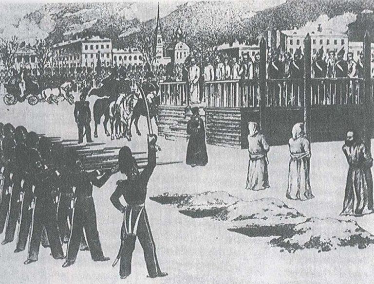 Обряд казни на Семеновском плацу. 1849