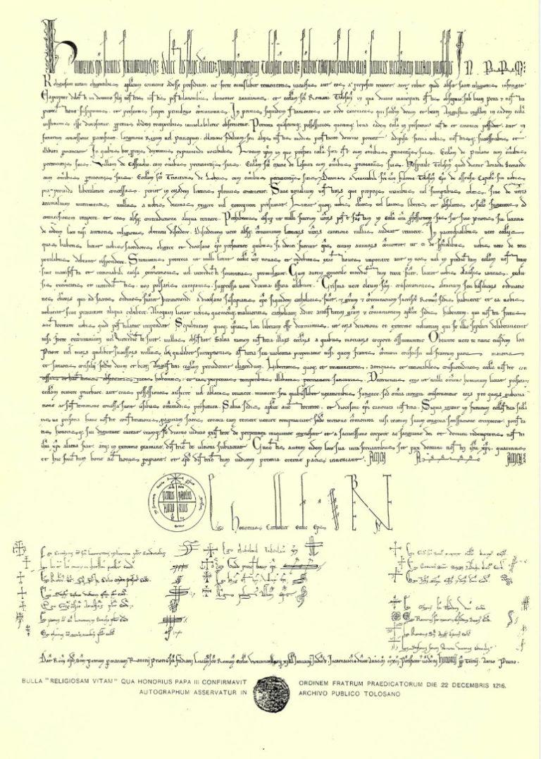 Папская булла Гонория III, подтверждающая основание ордена доминиканцев. 1216