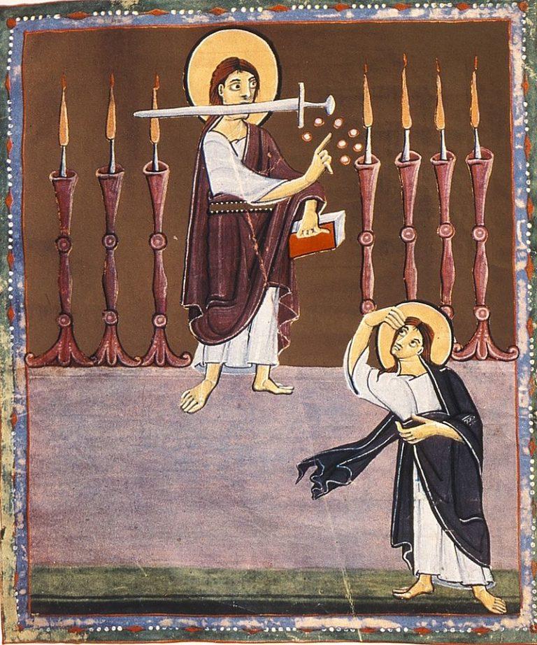 «Подобный Сыну Человеческому» с мечом в устах посреди семи светильников. Ок. 1000