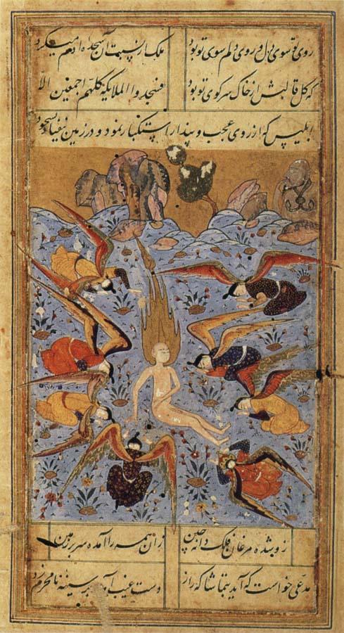 Поклонение ангелов Адаму. Иран, ок. 1560