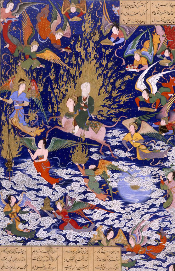 Посещение Мухаммадом рая на седьмом небе. XVI в.