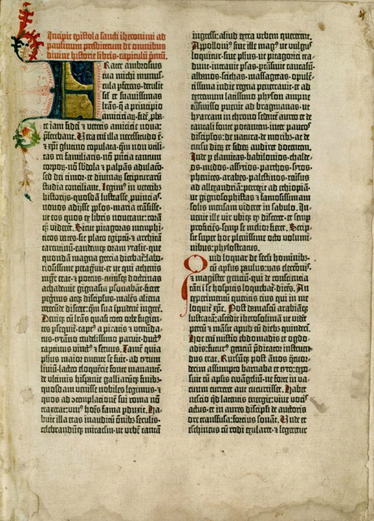 Послание Иеронима, открывающее первое печатное издание Вульгаты. 1450-е