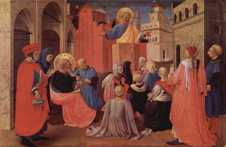 Проповедь святого Петра в присутствии святого Марка. Пределла Линайольской дарохранительницы. Ок. 1433