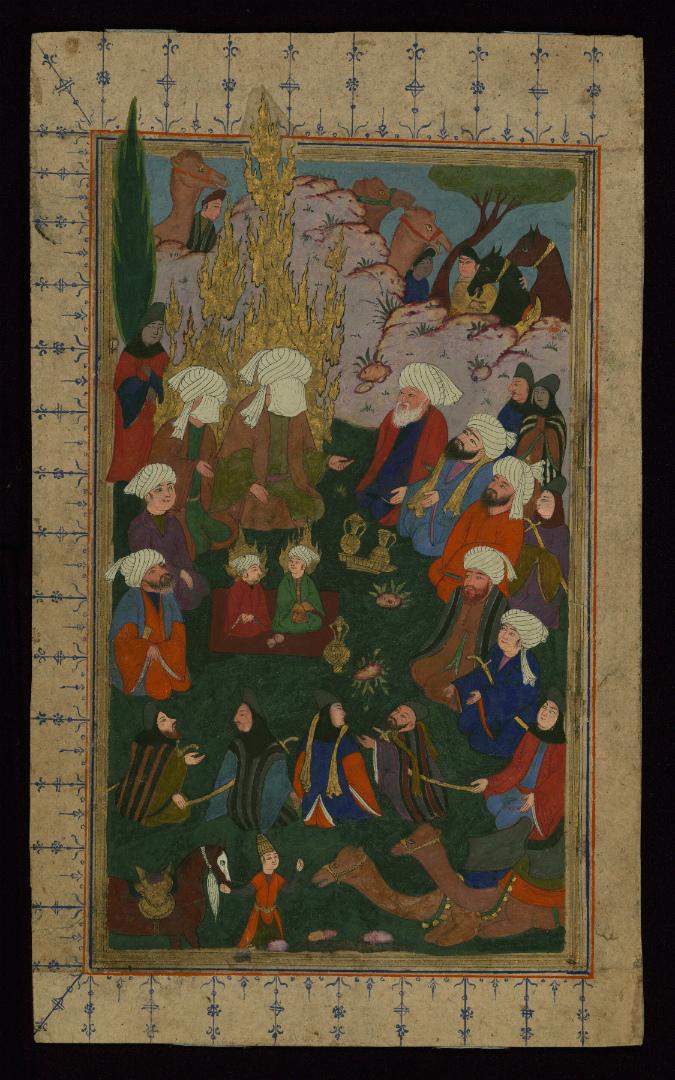 Пророк Мухаммад, Али и его сыновья, Хасан и Хусейн, в окружении сподвижников. XVII в.