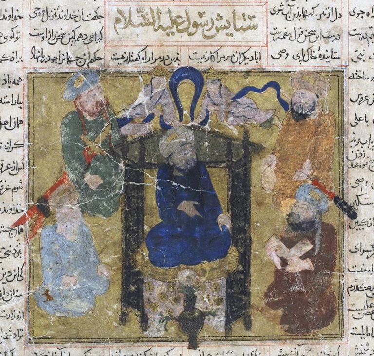 Пророк Мухаммад на троне, окруженный ангелами и сподвижниками. Нач. XIV в.