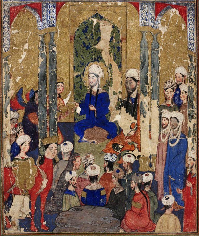Пророк Мухаммад с авраамическими пророками в Иерусалиме. Ок. 1317–1330