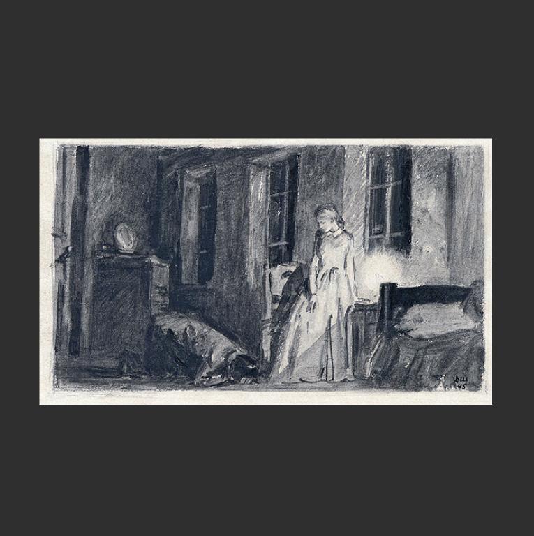 Раскольников и Соня. Иллюстрация к роману Ф.М. Достоевского «Преступление и наказание». 1945