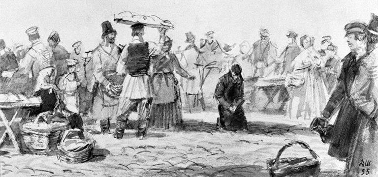 Раскольников на Сенной площади. Иллюстрация к роману «Преступление и наказание». 1955