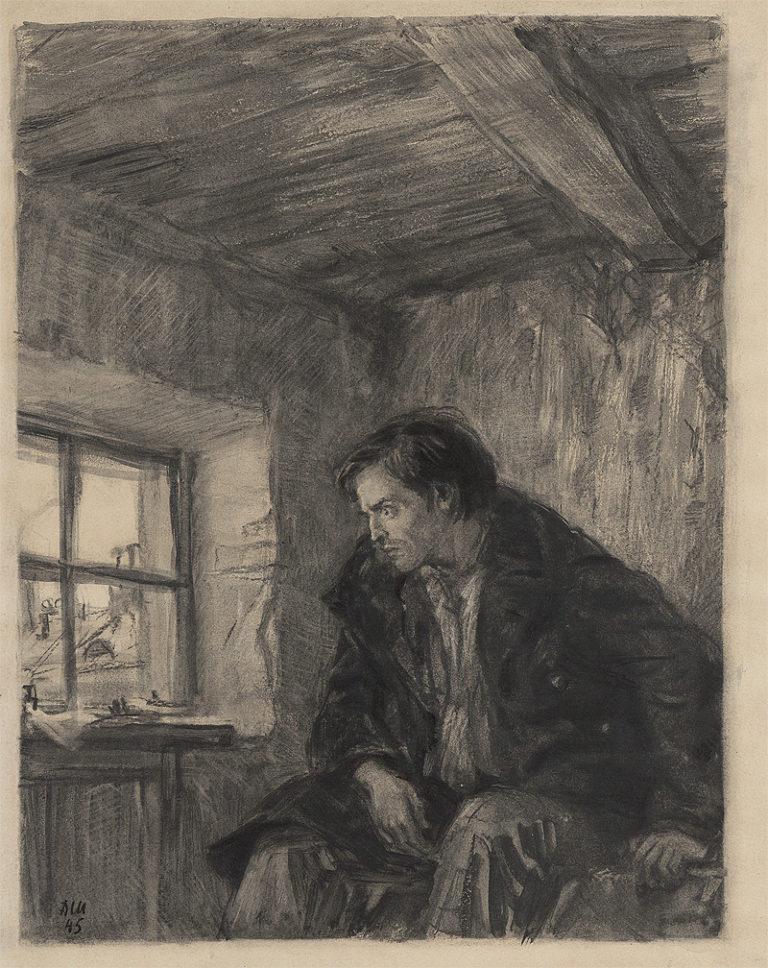 Раскольников в своей комнате. 1945