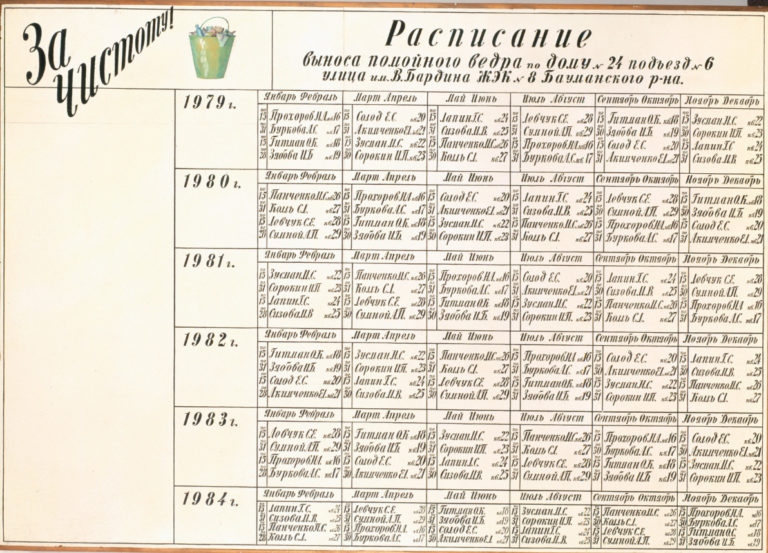 Расписание выноса помойного ведра. 1980