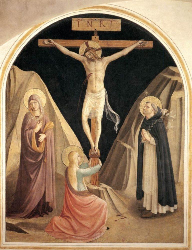 Распятие с Девой Марией, Марией Магдалиной и святым Домиником. 1441–1442