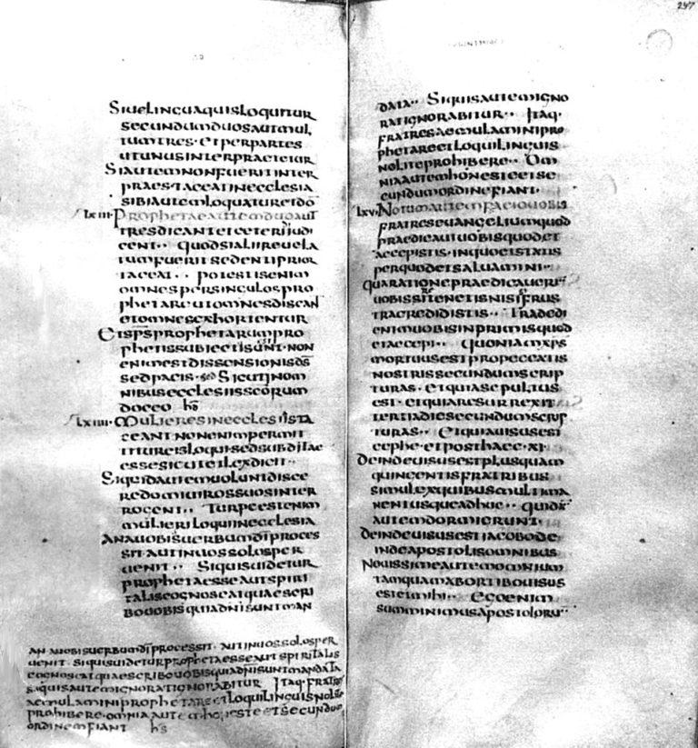 Разворот Фульдского кодекса, древнейшего западного источника Диатессарона. 541–546
