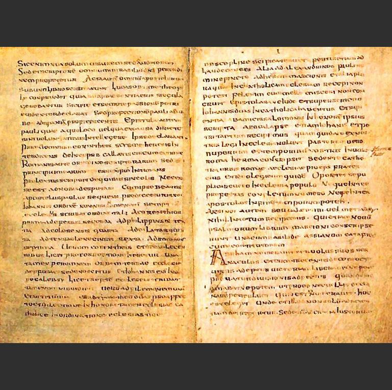 Разворот с фрагментом канона Муратори. VIII в.
