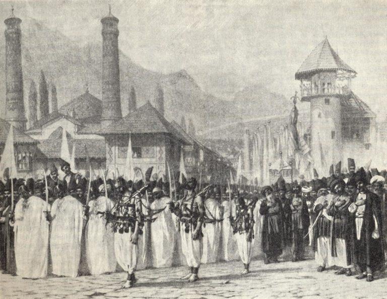 Религиозная процессия на Мухаррам в Шуше. 1865