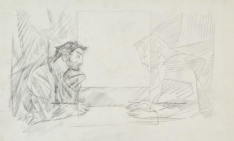 Рогожин и князь Мышкин. Иллюстрация к роману Ф. М. Достоевского «Идиот»