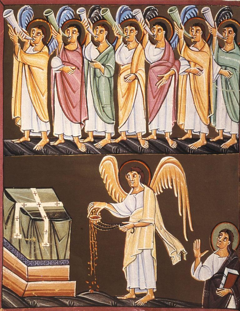 Семь труб и ангел с кадилом. Миниатюра из Бамбергского апокалипсиса. Ок. 1000–1020