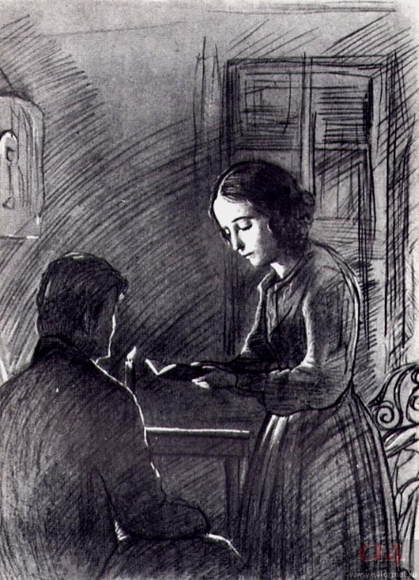 Соня читает Раскольникову Евангелие. Иллюстрация к роману Ф. М. Достоевского «Преступление и наказание»