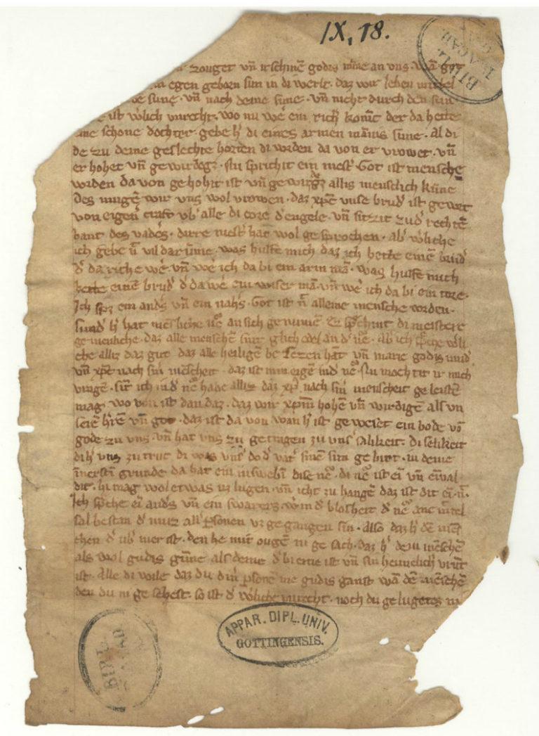 Старейший из сохранившихся фрагментов проповеди Майстера Экхарта. Нач. XIV в.