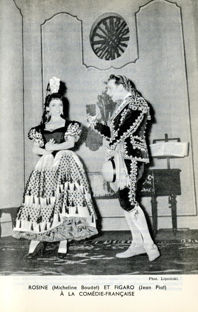 Сцена из «Сивильского цирюльника» на сцене парижского театра «Комеди Франсез». Предп. 1959