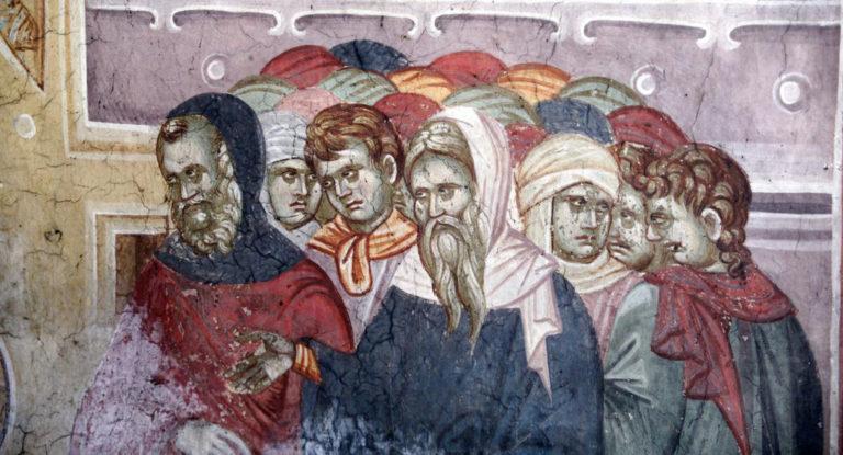 Суд Христа над грешницей, приведенной фарисеями. XIV в.