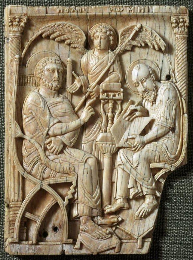 Св. Петр диктует Евангелие св. Марку в Риме. Ок. 630–640