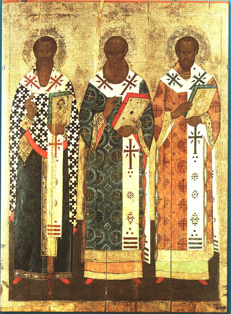 Три святителя: Василий Великий, Григорий Богослов, Иоанн Златоуст. Икона, XV–XVI вв.