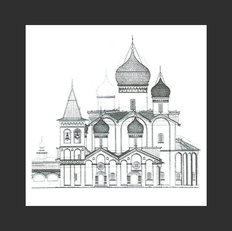 Троицкий собор Клопского монастыря. Вид южного фасада в XVI в. 1562-1569