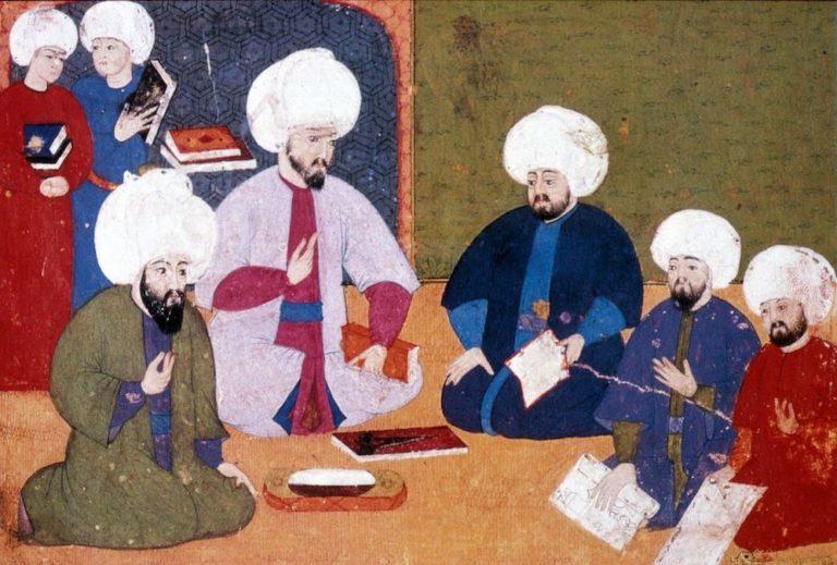 Учёные обсуждают манускрипты. 1581