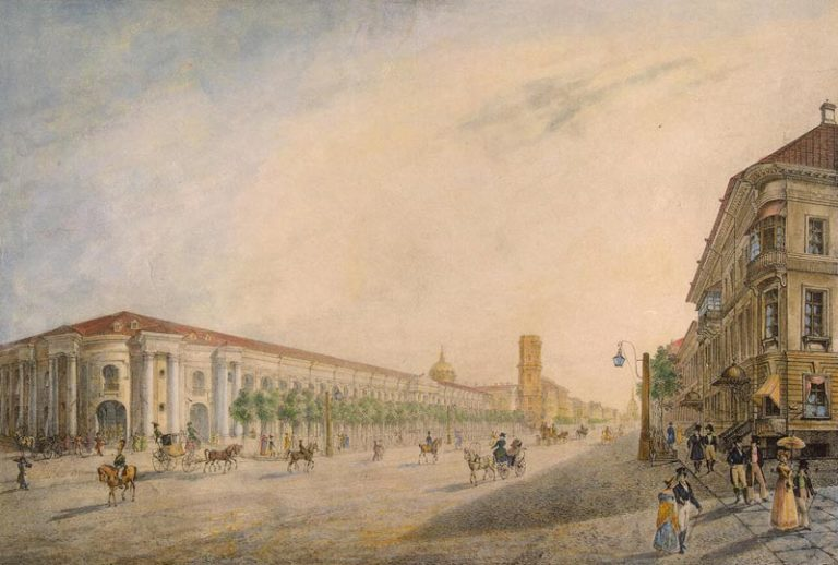 Вид Невского проспекта у Гостиного двора. Литография. 1823