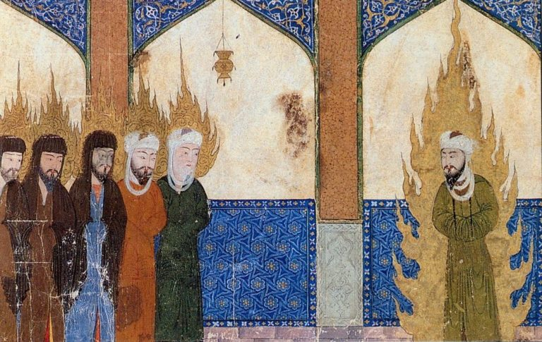 Во время восхождения на семь небес Мухаммад возглавляет молитву пророков, среди которых: Ибрахим (Авраам), Муса (Моисей) и Иса (Иисус). XIV в.