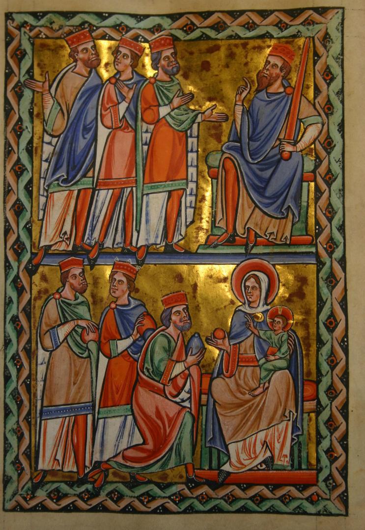 Волхвы перед Иродом. Поклонение волхвов. Ок. 1190–1200