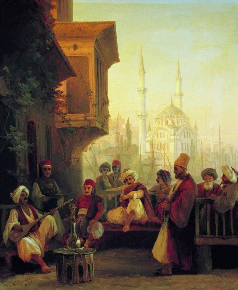 Восточная сцена. Кофейня у мечети Ортакёй в Константинополе. 1846