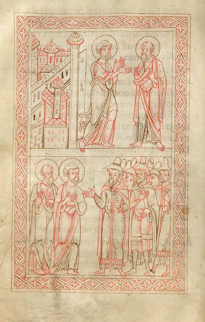 Встреча апостолов Петра и Павла в Риме. Проповедь Петра и Павла иудеям. XII в.