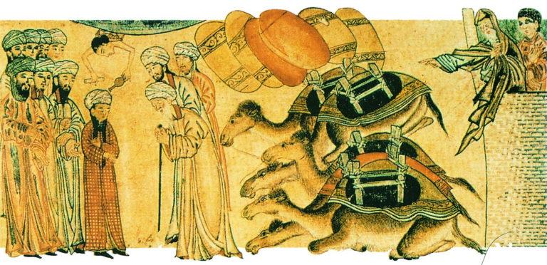 Юный Мухаммад встречает монаха Бахиру во время поездки в Сирию. Ок. 1315