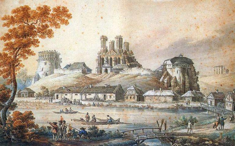 Замок князей Острожских с руинами Богоявленской церкви. 1796