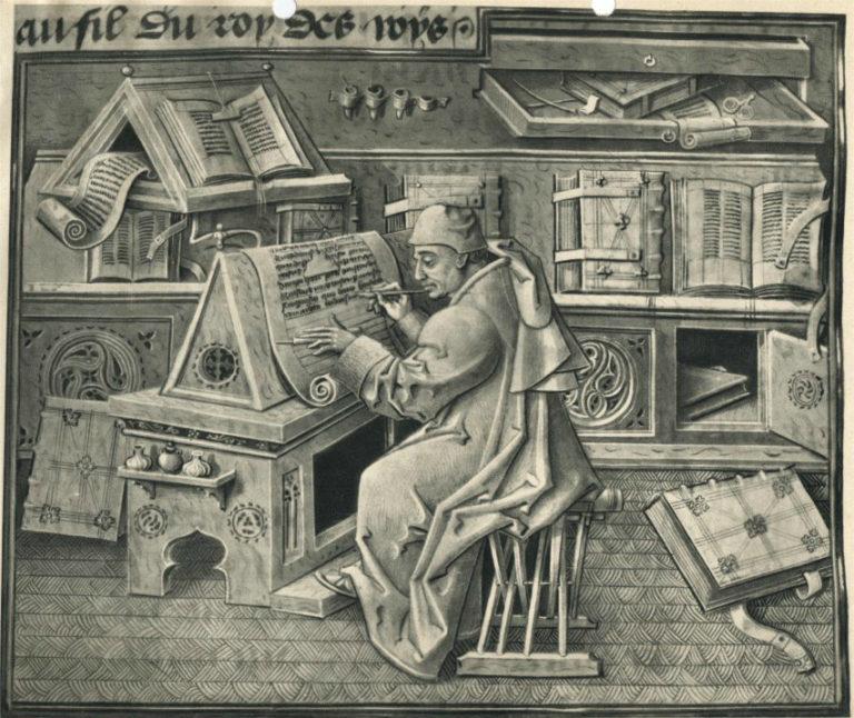 Писарь за работой. Портрет Жана Мело. XV в.