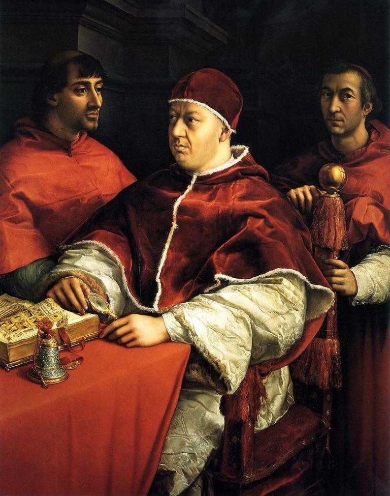 Портрет папы Льва X и его братьев, Джулио де Медичи и Луиджи де Росси. 1518–1519