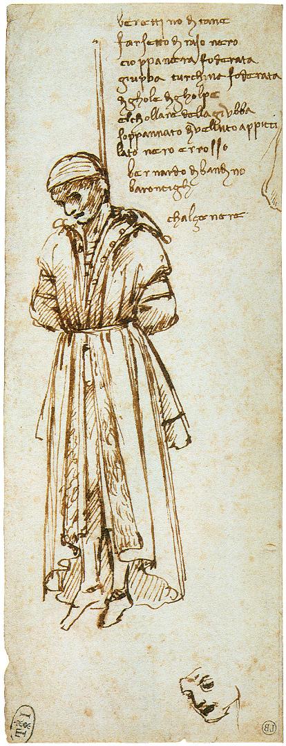 Повешенный Бернардо ди Барончелли, один из участников заговора Пацци. 1479